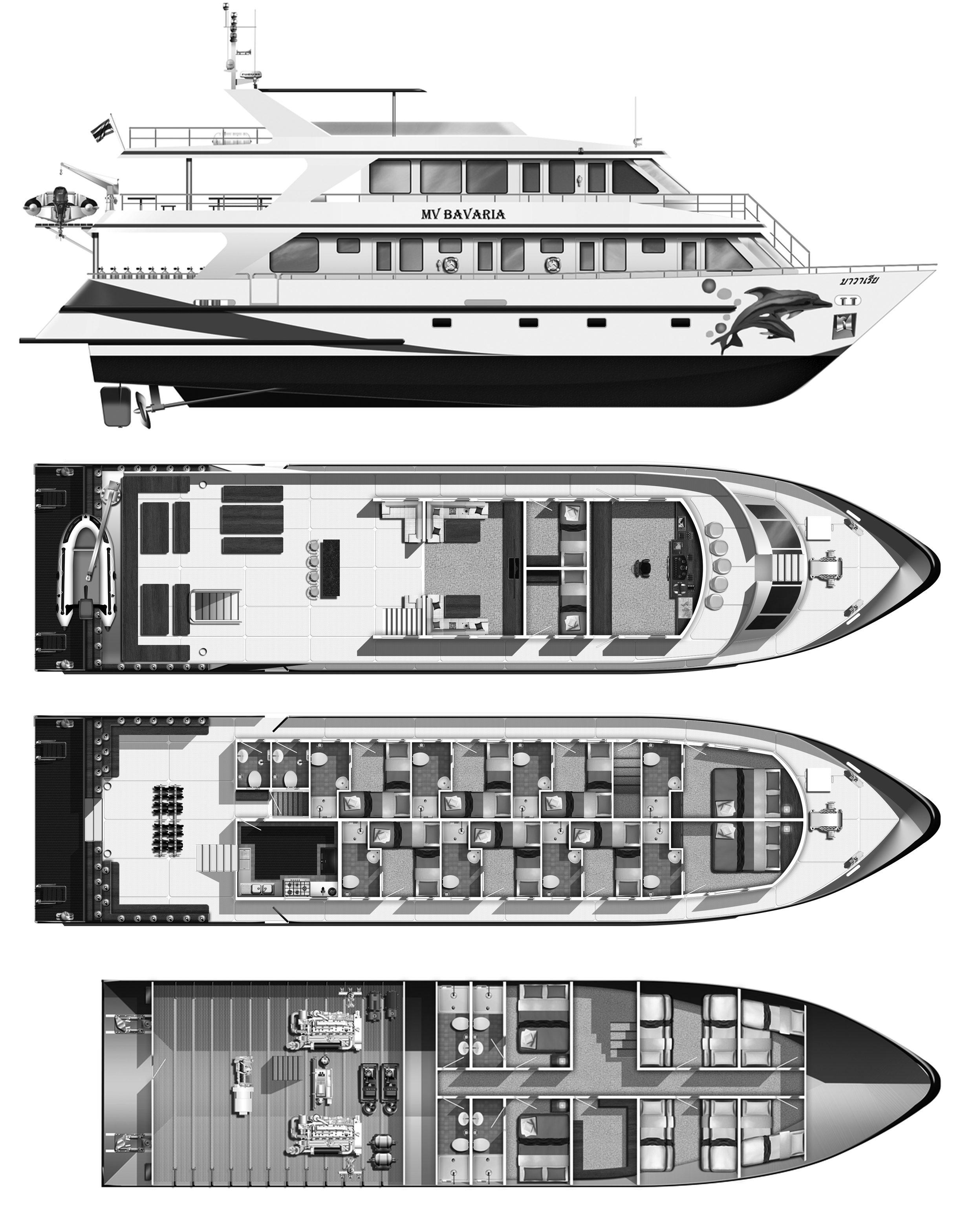Bavaria - Similan Island Liveaboard boat - Deck Layout