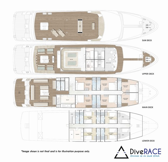 Diverace - Similan Island Liveaboard boat - Deck Layout