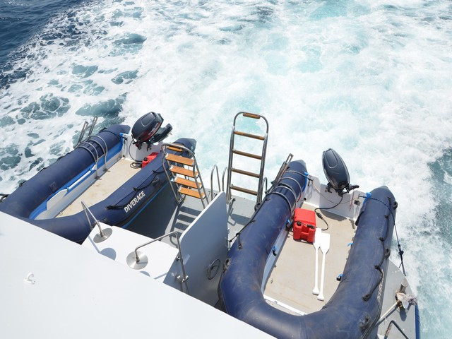 Diverace - Similan Island Liveaboard Dive Deck with tender