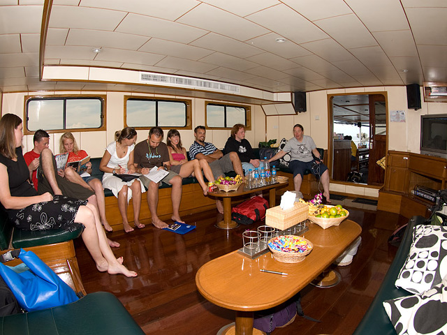 Deep Andaman Queen Similan Island Liveaboard saloon area