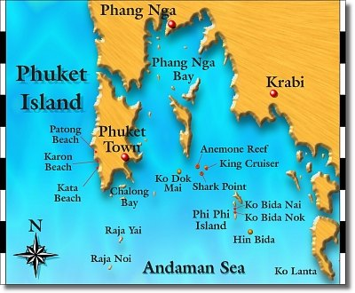 Phuket maps Andaman sea map SCUBA diving day trips in Thailand with