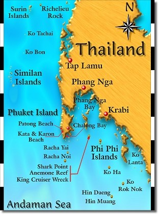Phuket maps Andaman sea map SCUBA diving day trips in